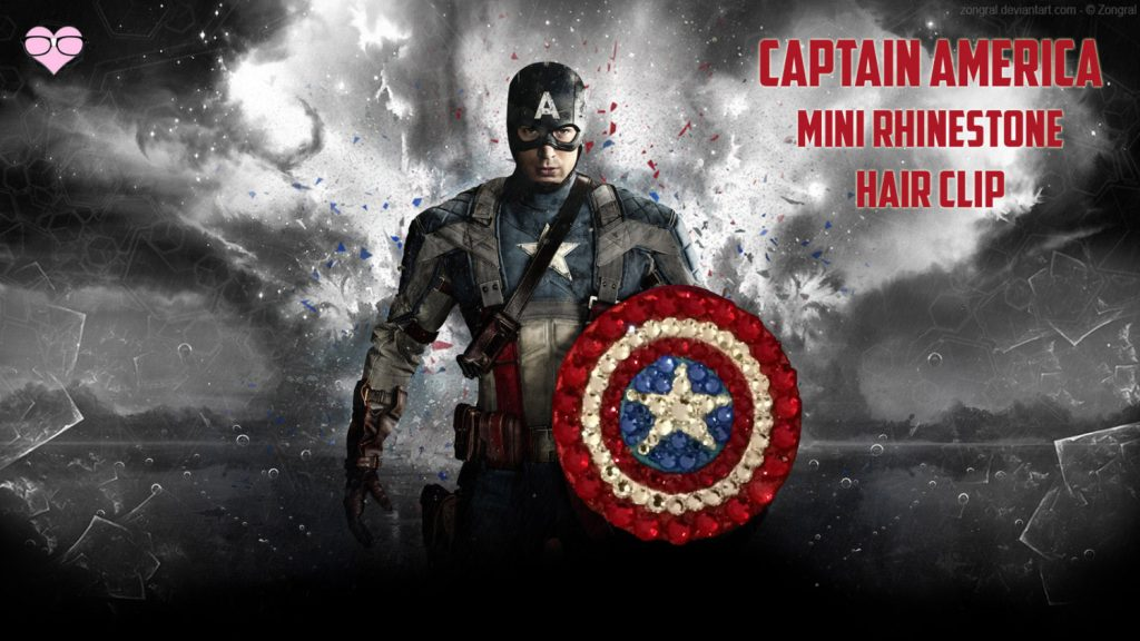 Captain America Mini Rhinestone Hair Clip