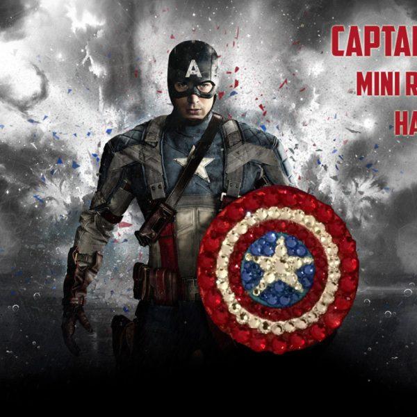 Captain America Mini Rhinestone Hair Clip