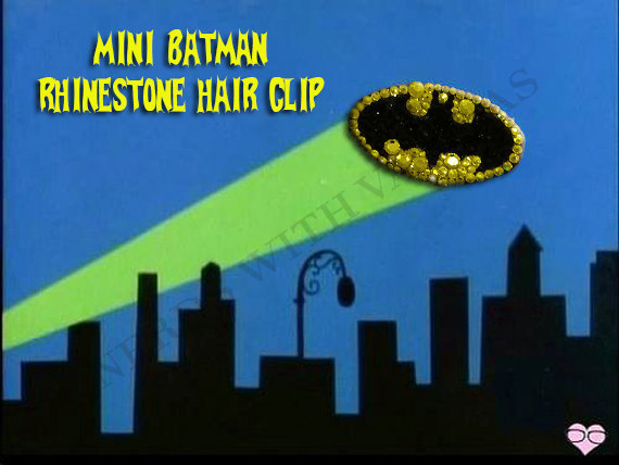 Mini Batman Rhinestone Hair Clip