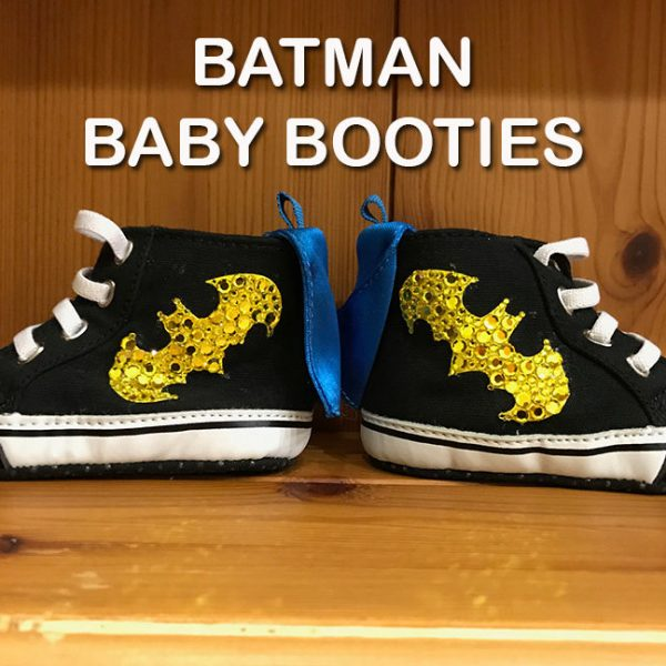 Rhinestone Batman Baby Booties