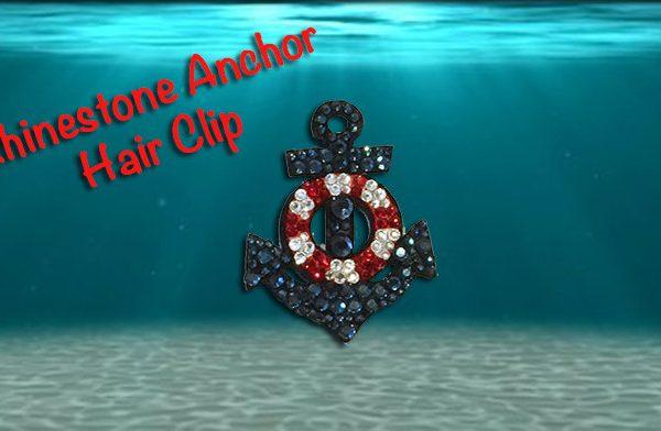 Rhinestone Navy Blue Anchor Hair Clip
