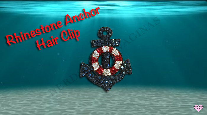 Rhinestone Navy Blue Anchor Hair Clip