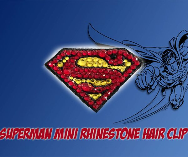 Superman Mini Rhinestone Hair Clip